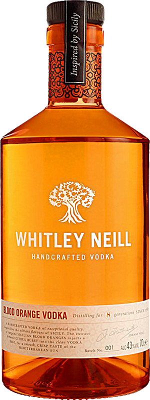 Personalised Whitley Neill Blood Orange Vodka 70cl engraved bottle
