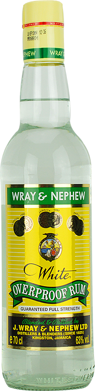 Engraved text on a bottle of Personalised Wray & Nephew Overproof Rum 70cl